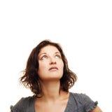 Donna che osserva in su Immagini Stock