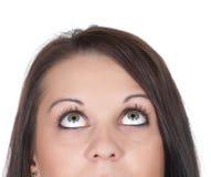 Donna che osserva in su Fotografie Stock