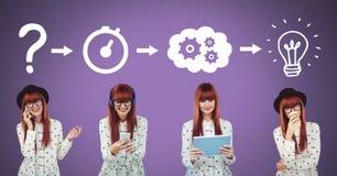 Donna che pensa nell'ordine con le idee e le icone trattate di lampo di genio Immagine Stock