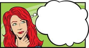 Donna che pensa o che daydreaming Immagine Stock Libera da Diritti