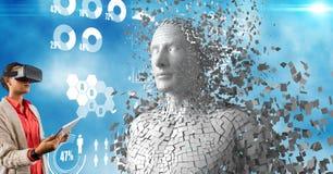 Donna che per mezzo dei vetri e del PC virtuali della compressa dall'essere umano 3d Immagini Stock Libere da Diritti