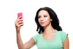 Donna che per mezzo del telefono immagini stock libere da diritti