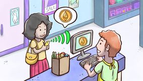 Donna che per mezzo del telefono per pagare con il cryptocurrency di Ethereum in un negozio di alimentari Fotografia Stock Libera da Diritti