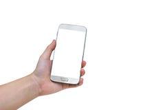 Donna che per mezzo dello Smart Phone mobile isolato su fondo bianco, clip Fotografia Stock Libera da Diritti