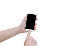 Donna che per mezzo dello Smart Phone mobile isolato su fondo bianco, clip Fotografia Stock