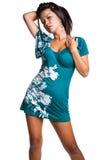 Donna che porta bruscamente vestito Fotografie Stock