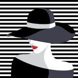Donna che porta grande cappello illustrazione di stock