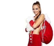 Donna che porta il costume del Babbo Natale Fotografia Stock Libera da Diritti