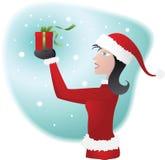 Donna che porta il costume della Santa Fotografia Stock