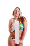 Donna che porta un bikini che tiene un telaio Fotografie Stock Libere da Diritti