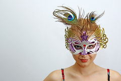 Donna che porta una mascherina Fotografia Stock Libera da Diritti
