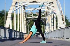 Donna che pratica posa discendente di yoga del cane Fotografie Stock