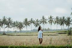 Donna che prende immagine per i media sociali nel giacimento del riso fotografia stock