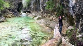 Donna che prende selfie in natura stock footage