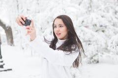 Donna che prende un'immagine di auto nel parco di inverno fotografia stock
