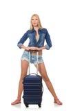 Donna che prepara per il viaggio lungo isolato Fotografia Stock