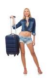 Donna che prepara per il viaggio lungo isolato Fotografie Stock