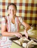 Donna che produce il patè della carne immagini stock