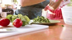 Donna che produce insalata con la frutta e le verdure fresche archivi video