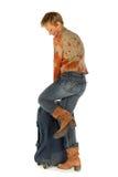 Donna che prova ad aprire la sua valigia Immagine Stock Libera da Diritti