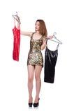 Donna che prova nuovi vestiti Fotografia Stock Libera da Diritti
