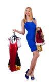 Donna che prova nuovo abbigliamento Fotografia Stock