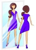 Donna che prova su un vestito illustrazione vettoriale