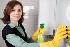 Donna che pulisce la stanza da bagno Fotografia Stock