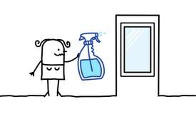 Donna che pulisce una finestra Fotografia Stock Libera da Diritti