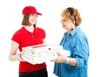 Consegna a domicilio della pizza su bianco Fotografia Stock