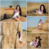 Donna che riposa dopo il raccolto del grano Immagine Stock