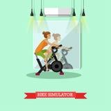 Donna che risolve sulla bici di esercizio nel centro di forma fisica Ragazza in manifesto di vettore della palestra Immagini Stock