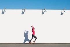 Donna che rollerblading Fotografia Stock