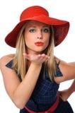 Donna che salta un bacio Fotografia Stock Libera da Diritti