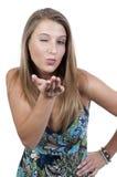 Donna che salta un bacio e sbattere le palpebre Fotografia Stock Libera da Diritti