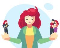 Donna che sceglie fra le responsabilità del genitore o della famiglia e la carriera o il successo professionale Scelta difficile, illustrazione di stock