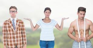 Donna che sceglie o che decide con le mani aperte della palma Fotografie Stock