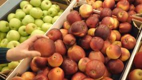 Donna che seleziona le mele rosse fresche nella vendita del supermercato dei prodotti della drogheria archivi video