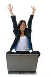 Donna che sembra felice Fotografia Stock Libera da Diritti