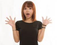 Donna che sembra sorpresa Fotografia Stock Libera da Diritti