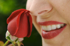 Donna che sente l'odore del germoglio della Rosa Fotografia Stock