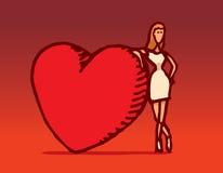 Donna che si appoggia il cuore enorme del biglietto di S. Valentino illustrazione di stock