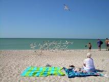 Donna che si distende alla spiaggia Immagine Stock
