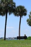 Donna che si distende guardando le barche a vela Immagini Stock