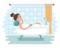 Donna che si distende nella stanza da bagno illustrazione vettoriale