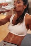 Donna che si esercita in ginnastica Fotografia Stock
