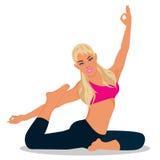 donna che si esercita, illustrazione di forma fisica di vettore Immagine Stock