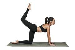 Donna che si esercita sulla stuoia di yoga Isolato su bianco Immagini Stock Libere da Diritti