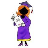 Donna che si laurea dal banco Immagini Stock