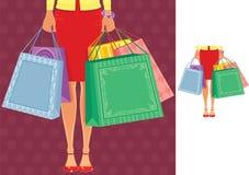 Donna che si leva in piedi con i sacchetti di acquisto illustrazione vettoriale